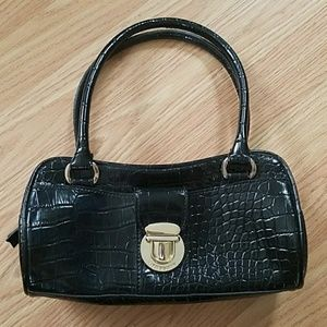 Liz Claiborne Black Crocodile Design Handbag